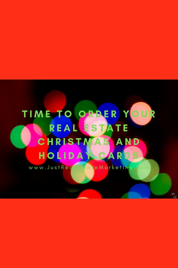 Christmas lights on red background with text saying time to order your real estate Christmas and Holiday cards.