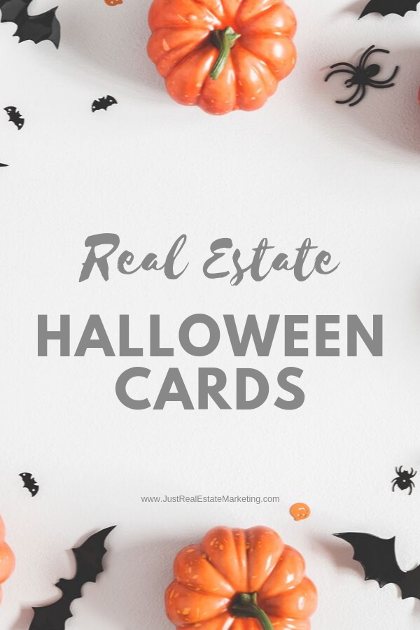 Real Estate Halloween Cards on White Background with Pumpkins and Bats