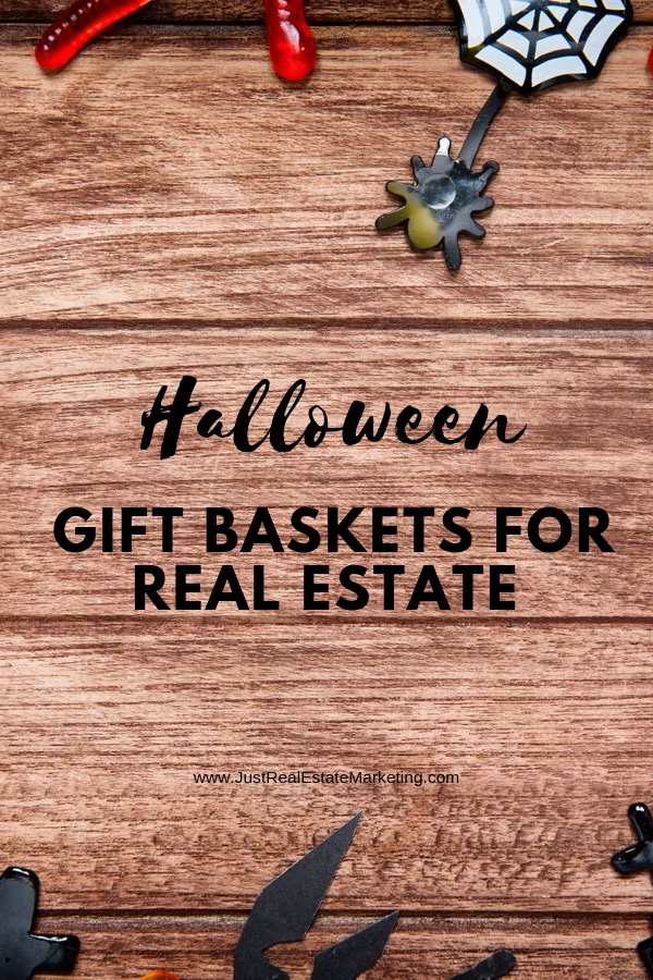 Halloween Gift Baskets for Real Estate on wood Halloween background