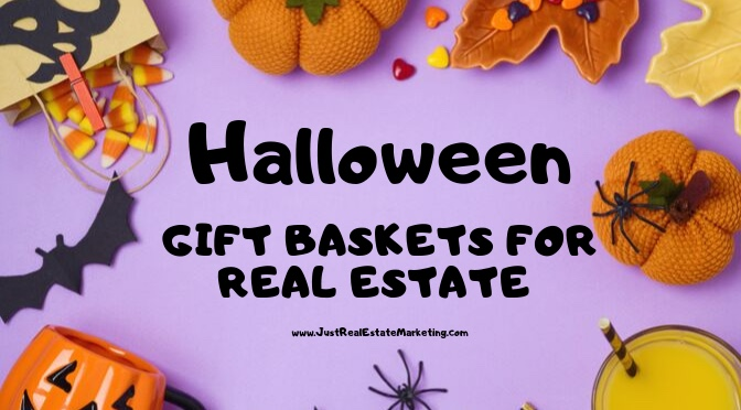 Halloween Gift Baskets on purple background with pumpkins, bats, and spiders