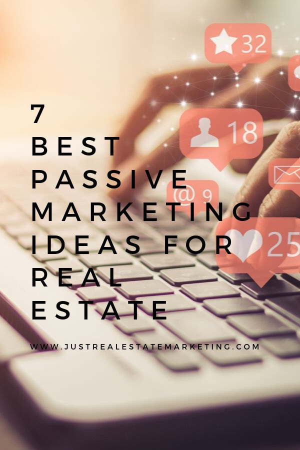 Keyboard with social media bubbles with overlay of 7 of the Best Methods to Market Real Estate Passively