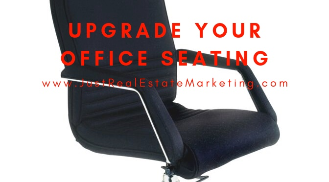 Black office chair in a real estate brokerage or home office - overlay of upgrade your office seating.